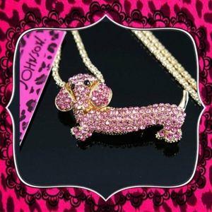 Betsey Johnson Dachshund pink crystal Pendant